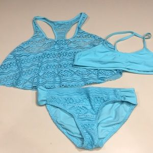 GB 2 Piece Swimsuit with coverup youth girl